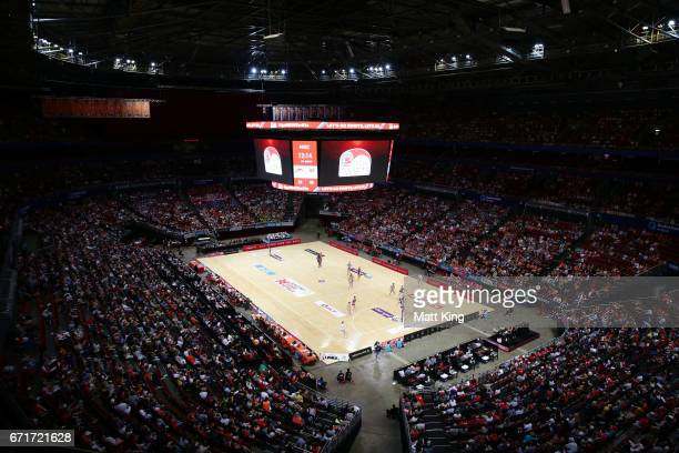 A general view during the round nine Super Netball match between the Swifts and the Vixens at Qudos Bank Arena on April 23 2017 in Sydney Australia