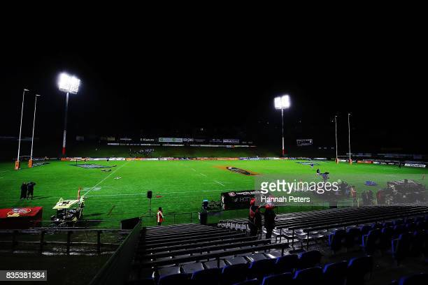 A general view during the round one Mitre 10 Cup match between Counties Manukau and Auckland at ECOLight Stadium on August 19 2017 in Pukekohe New...