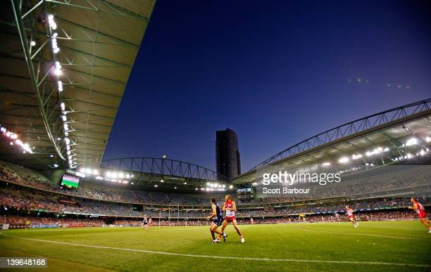 A general view during the round one NAB Cup AFL match between the Geelong Cats and the Sydney Swans at Etihad Stadium on February 24 2012 in...