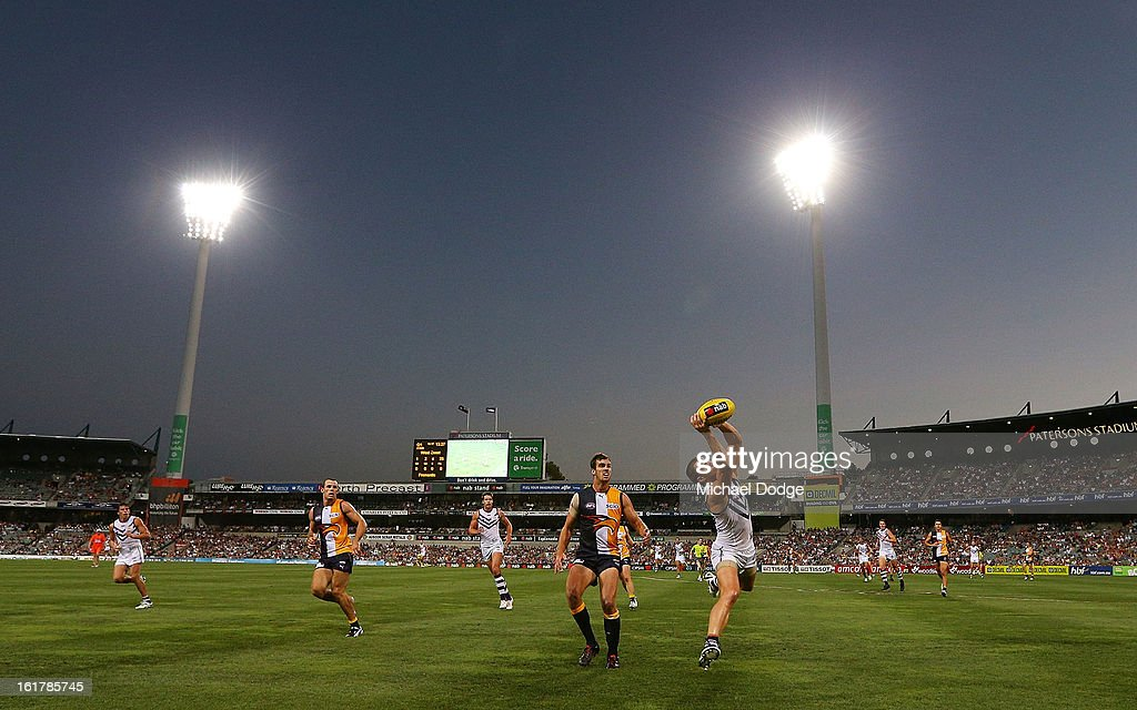 A general view during the round one NAB Cup match between the West Coast Eagles and the Fremantle Dockers at Patersons Stadium on February 16, 2013 in Perth, Australia.