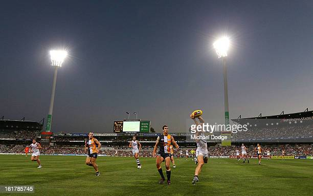 A general view during the round one NAB Cup match between the West Coast Eagles and the Fremantle Dockers at Patersons Stadium on February 16 2013 in...