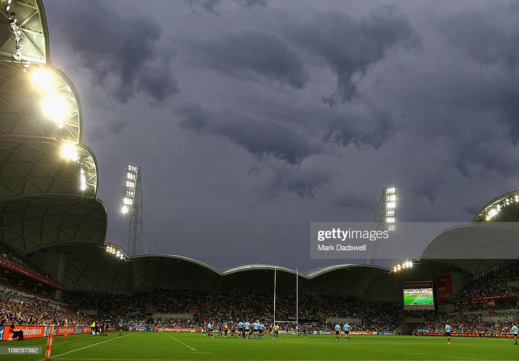 A general view during the round one Super Rugby match between the Melbourne Rebels and the Waratahs at AAMI Park on February 18 2011 in Melbourne...