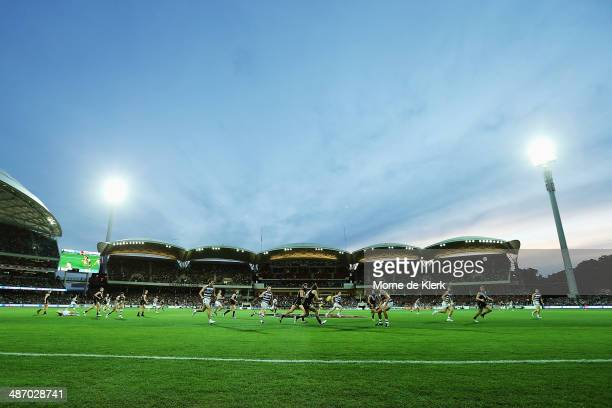 A general view during the round six AFL match between Port Adelaide Power and the Geelong Cats at Adelaide Oval on April 27 2014 in Adelaide Australia