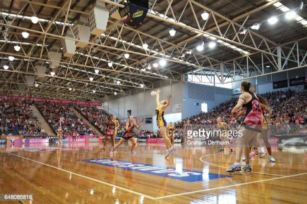 A general view during the round three Super Netball match between the Thunderbirds and the Lightning at Priceline Stadium on March 5 2017 in Adelaide...