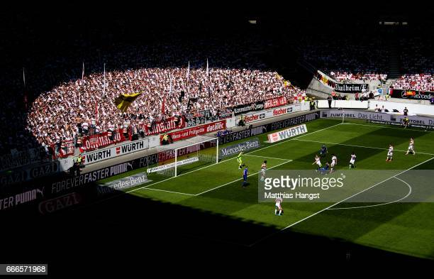 A general view during the Second Bundesliga match between VfB Stuttgart and Karlsruher SC at MercedesBenz Arena on April 9 2017 in Stuttgart Germany