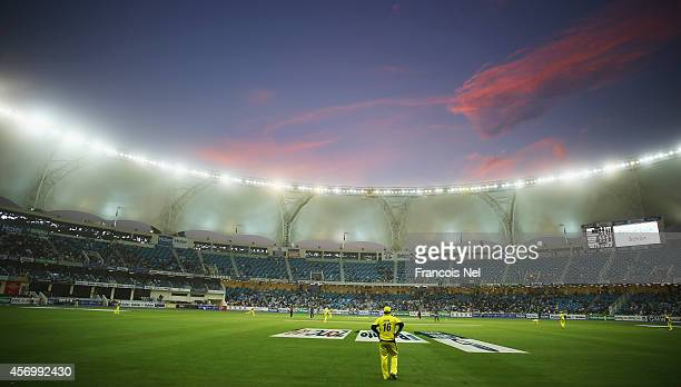 A general view during the second match of the one day international series between Australia and Pakistan at Dubai Sports City Cricket Stadium on...