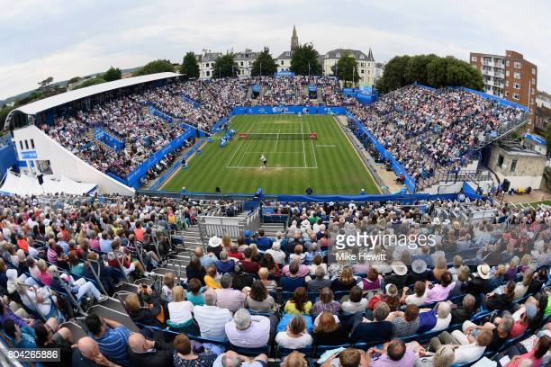 A general view during the semi final between Novak Djokovic of Serbia and Daniil Medvedev of Russia on Day 6 of the Aegon International Eastbourne...