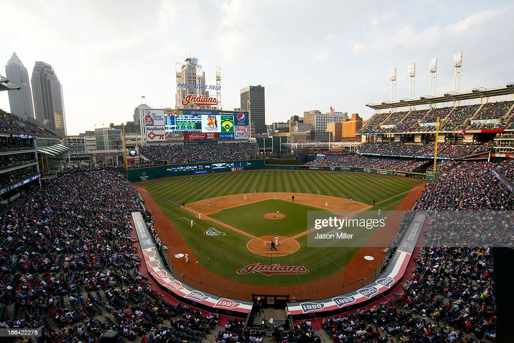 General view during the seventh inning of the game between the Cleveland Indians and the New York Yankees on opening day at Progressive Field on April 8, 2013 in Cleveland, Ohio.