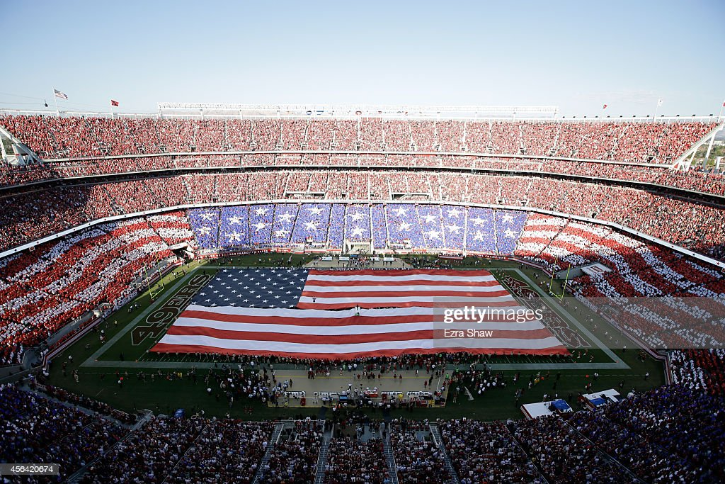 A general view during the singing of the National Anthem before the San Francisco 49ers game against the Chicago Bears at Levi's Stadium on September...
