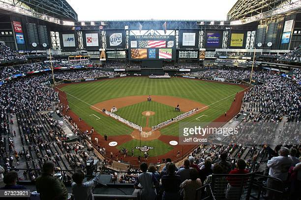 A general view during the singing of the National Anthem prior to the start of the game between the Arizona Diamondbacks and the Colorado Rockies on...