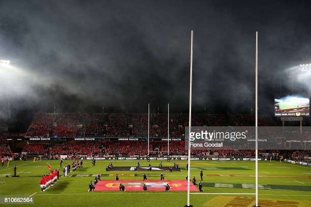 General view during the singing of the National Anthems before the Test match between the New Zealand All Blacks and the British Irish Lions at Eden...