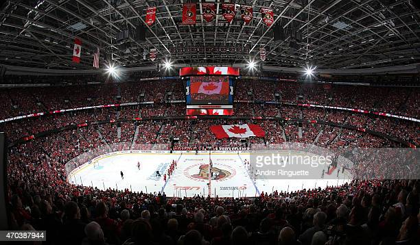 A general view during the singing of the national anthems prior to a game between the Ottawa Senators and the Montreal Canadiens in Game Three of the...