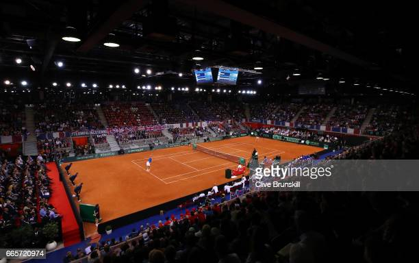 A general view during the singles match between Lucas Pouille of France and Kyle Edmund of Great Britain on day one of the Davis Cup World Group...