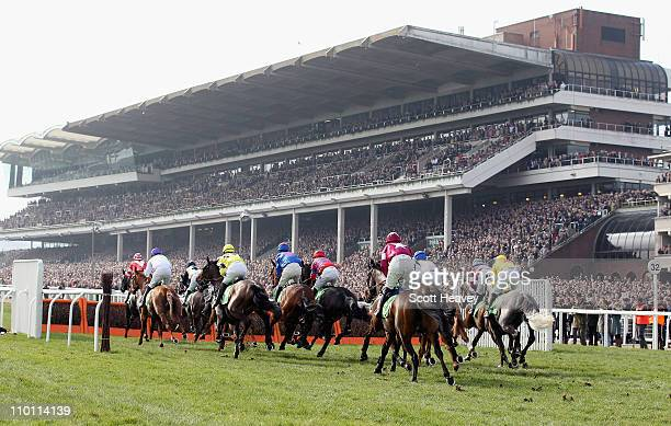 A general view during the Stan James Supreme Novices' Hurdle race at Cheltenham Racecourse on Centenary Day March 15 2011 in Cheltenham England