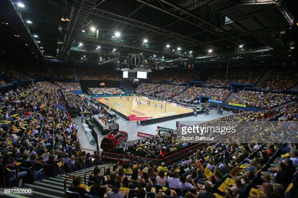 A general view during the Super Netball Grand Final match between the Lightning and the Giants at the Brisbane Entertainment Centre on June 17 2017...