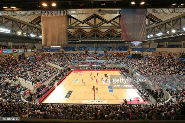 A general view during the Super Netball Major Semi Final match between the Vixens and the Lightning at Margaret Court Arena on June 3 2017 in...