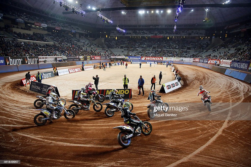 General view during the Superprestigio Dirt Track Race at the Palau of Sant Jordi on January 11, 2014 in Barcelona, Spain.