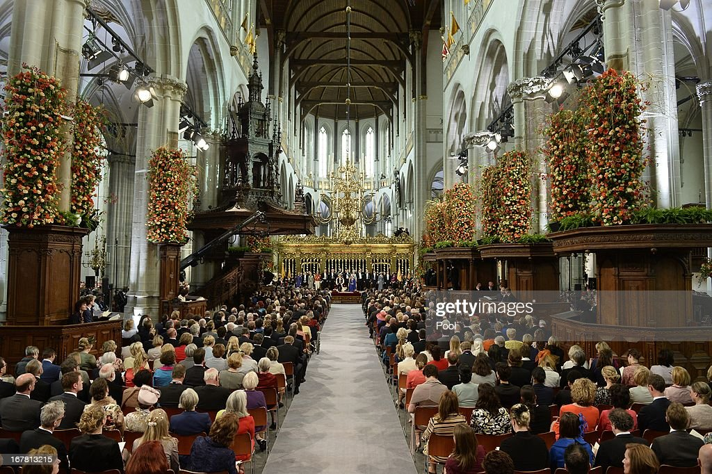 General view during the swearing in and investiture ceremony for HM King Willem-Alexander of the Netherlands and HM Queen Maxima of the Netherlands at the Nieuwe Kerk on April 30, 2013 in Amsterdam, Netherlands.