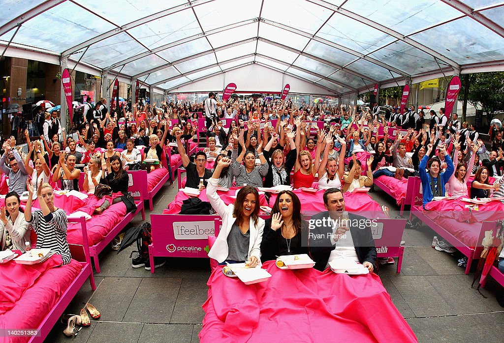 A general view during the The World's Biggest Breakfast in Bed Guinness World Record Attempt at Martin Place on March 2, 2012 in Sydney, Australia.