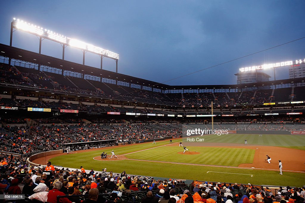A general view during the third inning of the Baltimore Orioles and Chicago White Sox game at Oriole Park at Camden Yards on April 29, 2016 in Baltimore, Maryland.
