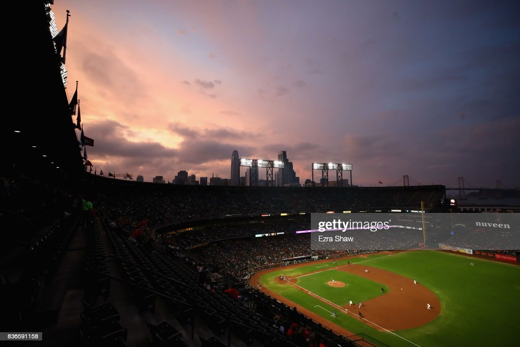 A general view during the third inning of the San Francisco Giants game against the Milwaukee Brewers at AT&T Park on August 21, 2017 in San Francisco, California.