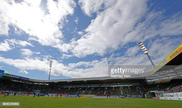 A general view during the third league match between FC Hansa Rostock and 1FC Magdeburg at Ostseestadion on April 15 2017 in Rostock Germany