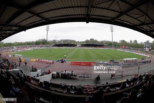 A general view during the Third League match between RW Oberhausen and Jahn Regensburg at the Niederrhein Stadium on April 28 2012 in Oberhausen...