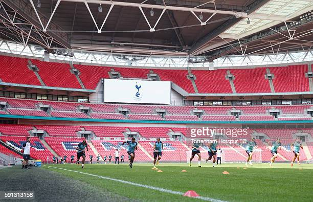 General view during the Tottenham Hotspur training session at Wembley Stadium on August 17 2016 in London England