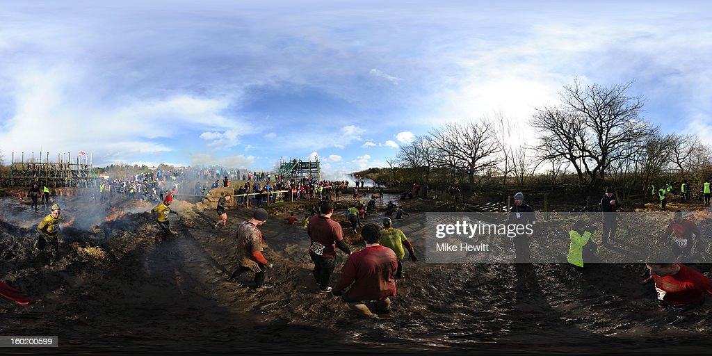 A general view during the Tough Guy Challenge endurance race on January 27, 2013 in Telford, England. Every year thousands of people run the 8 mile assault course which involves freezing temperatures, fire and ice.