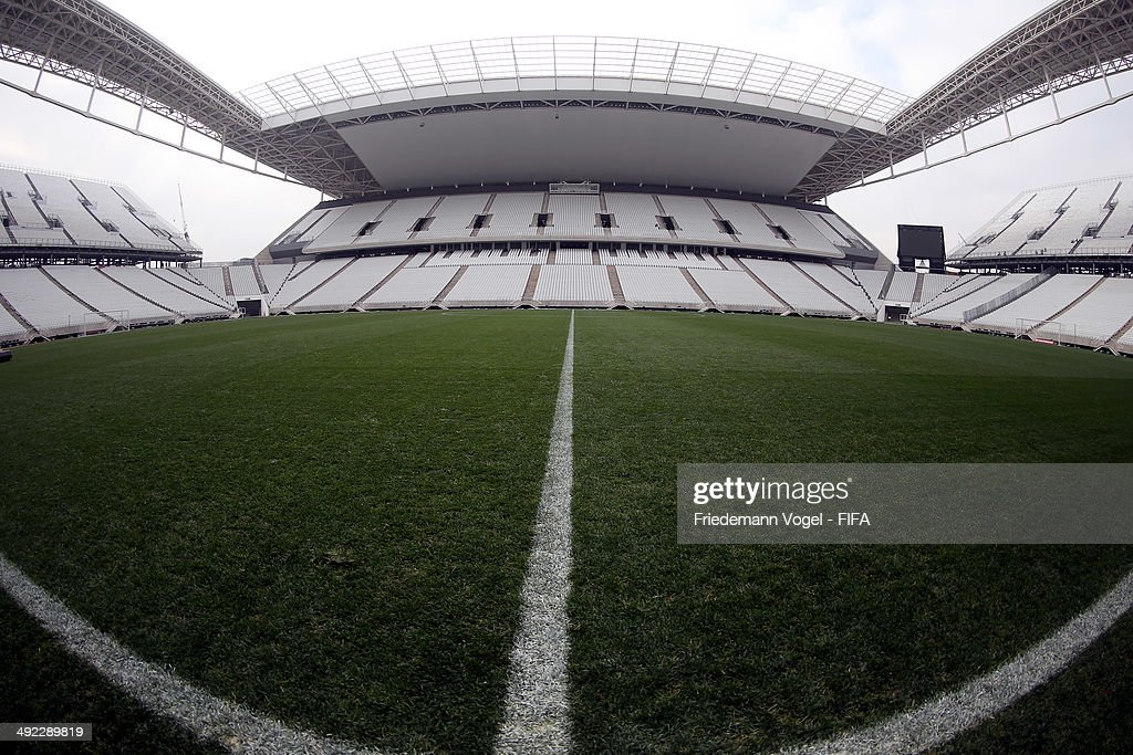 A general view during the tour of the brand new Arena Sao Paulo during the 2014 FIFA World Cup Host City Tour on May 19, 2014 in Sao Paulo, Brazil.
