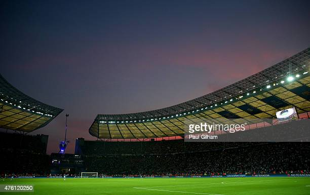 A general view during the UEFA Champions League Final between Juventus and FC Barcelona at Olympiastadion on June 6 2015 in Berlin Germany
