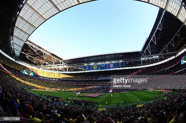 A general view during the UEFA Champions League final match between Borussia Dortmund and FC Bayern Muenchen at Wembley Stadium on May 25 2013 in...