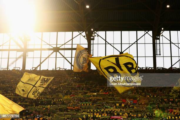 A general view during the UEFA Champions League Quarter Final first leg match between Borussia Dortmund and AS Monaco at Signal Iduna Park on April...
