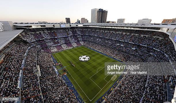 A general view during the UEFA Champions League Quarter Final second leg match between Real Madrid CF and Club Atletico de Madrid at Estadio Santiago...