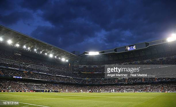 A general view during the UEFA Champions League Semi Final second leg match between Real Madrid and Borussia Dortmund at Estadio Santiago Bernabeu on...
