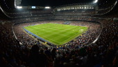 A general view during the UEFA Champions League semifinal first leg match between Real Madrid and FC Bayern Muenchen at the Estadio Santiago Bernabeu...