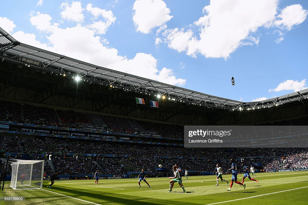 A general view during the UEFA EURO 2016 round of 16 match between France and Republic of Ireland at Stade des Lumieres on June 26, 2016 in Lyon, France.