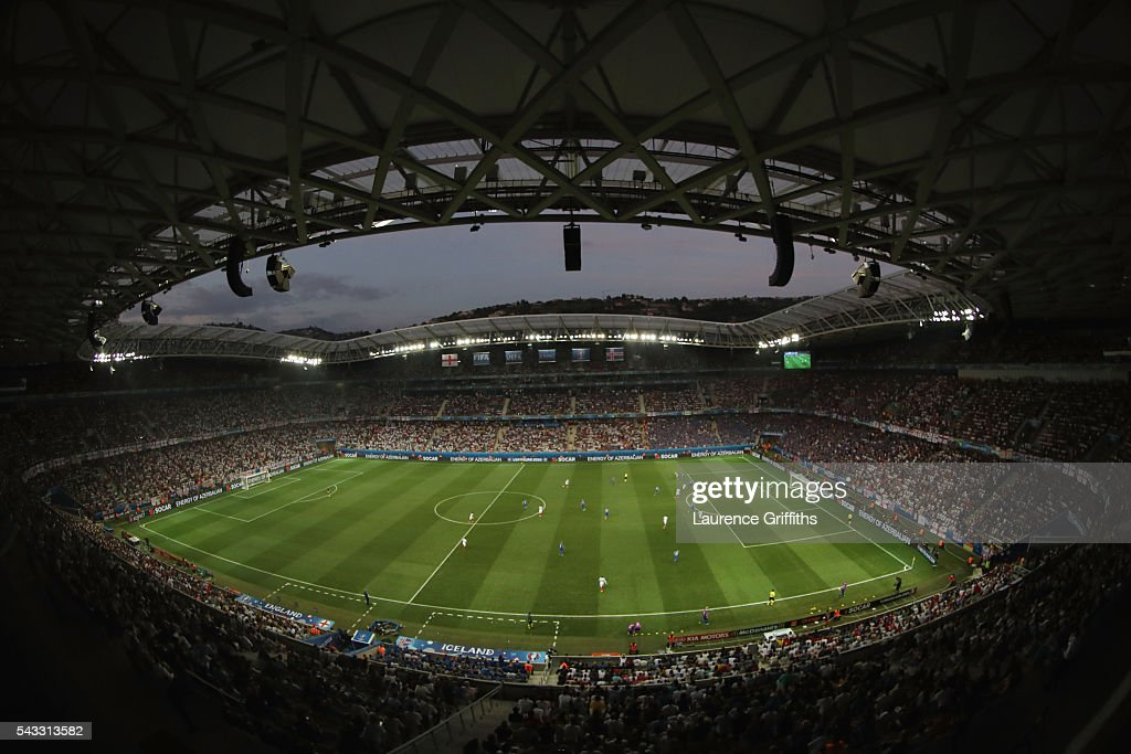 A general view during the UEFA EURO 2016 round of 16 match between England and Iceland at Allianz Riviera Stadium on June 27, 2016 in Nice, France.