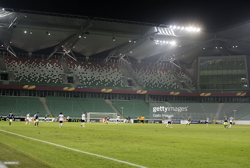 A general view during the UEFA Europa League round of 32 match between Legia Warszawa and Ajax Amsterdam at the Polish Army Stadium on February 26...