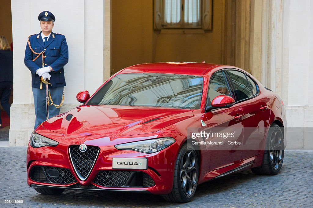 A general view during the unveiling of Italian car manufacturer Alfa Romeo's latest car The Alfa Romeo Giulia on May 5, 2016 in Rome, Italy.