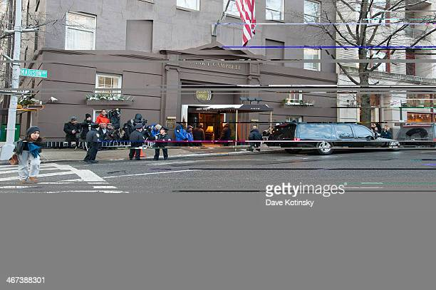 General view during the wake for actor Philip Seymour Hoffman at Frank E Campbell Funeral Chapel on February 6 2014 in New York City Hoffman was...
