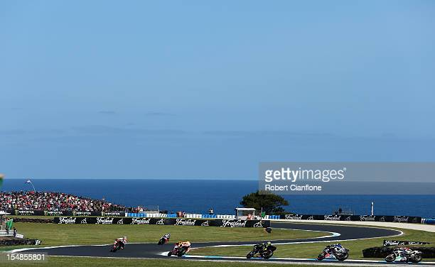 A general view during the warm up lap prior to the Australian MotoGP which is round 17 of the MotoGP World Championship at Phillip Island Grand Prix...