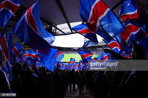 A general view during the William Hill Scottish Cup semi final between Rangers and Celtic at Hampden Park on April 17 2016 in Glasgow Scotland