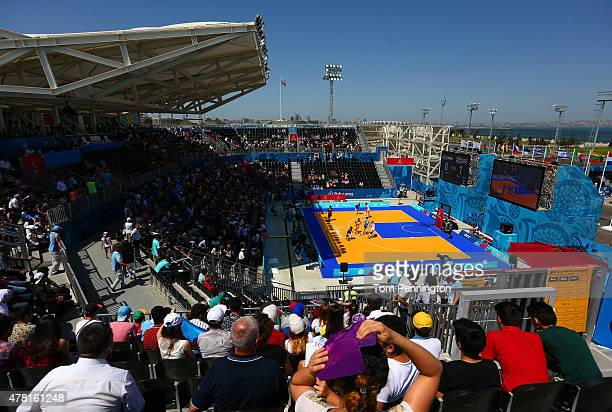 A general view during the Women's 3x3 Basketball Pool A match between Greece and the Netherlands during day eleven of the Baku 2015 European Games at...