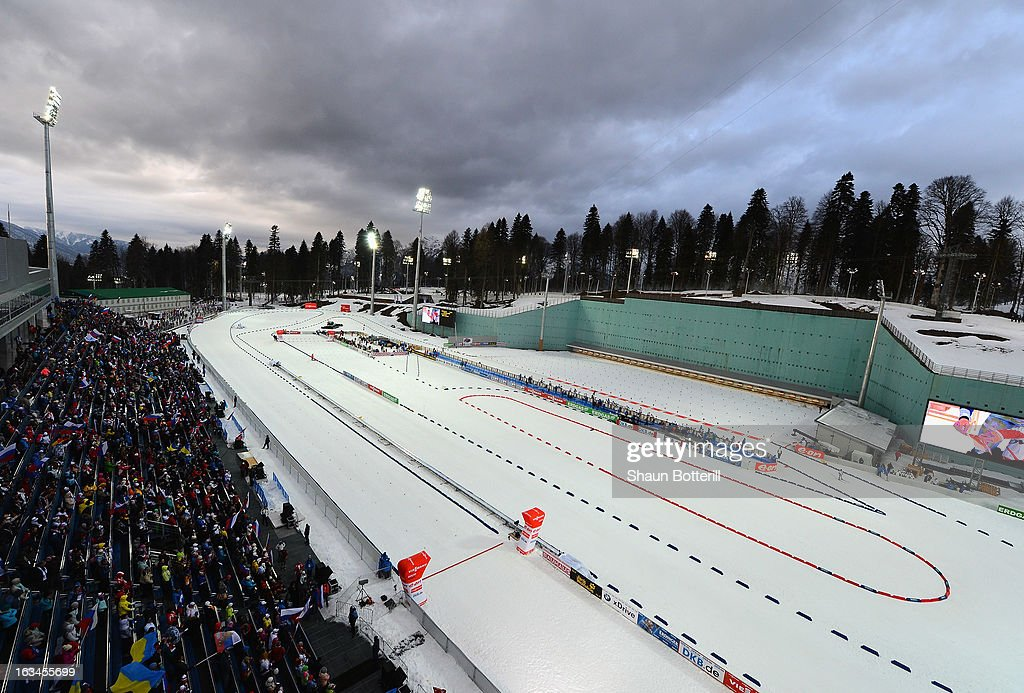 A general view during the Women's 4x6km Relay event at theBiathlon & Ski Complex on March 10, 2013 in Sochi, Russia.