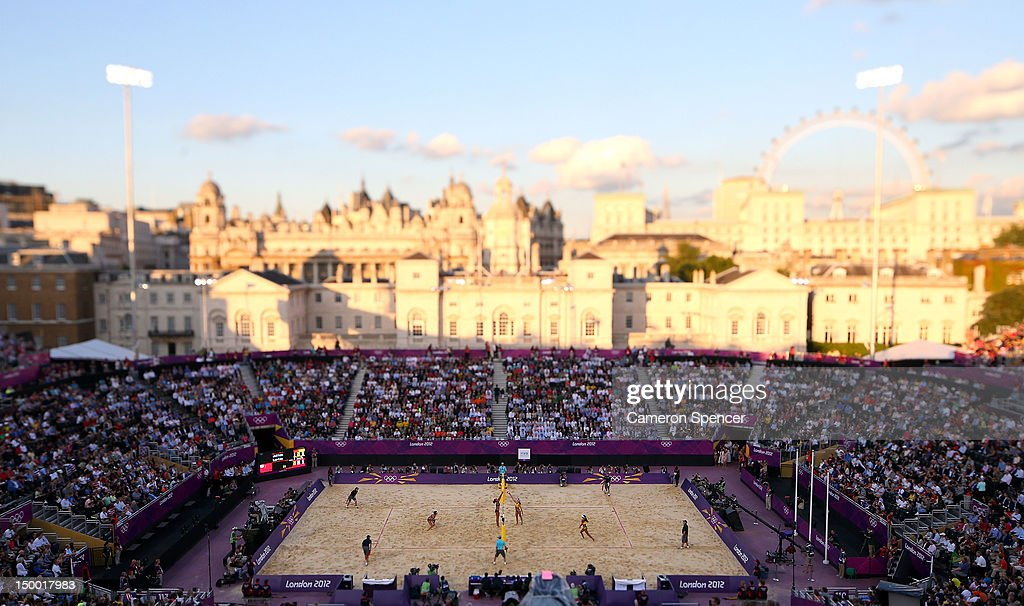 A general view during the Women's Beach Volleyball on Day 12 of the London 2012 Olympic Games at the Horse Guard's Parade on August 8, 2012 in London, England.