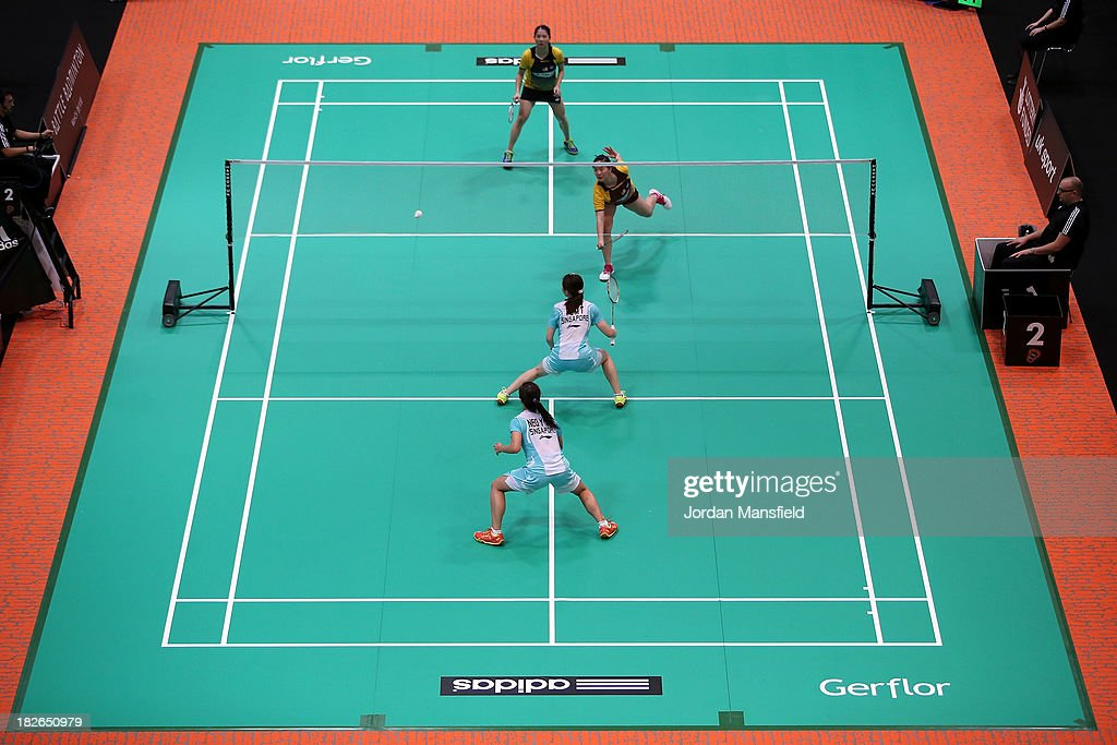 A general view during the womens doubles match between Ng Hui Ern and Ng Hui Lin of Malaysia (top) and Mingtian Fu and Yu Yan Vanessa Neo of Singapore during Day Two of the London Badminton Grand Prix at The Copper Box on October 2, 2013 in London, England.