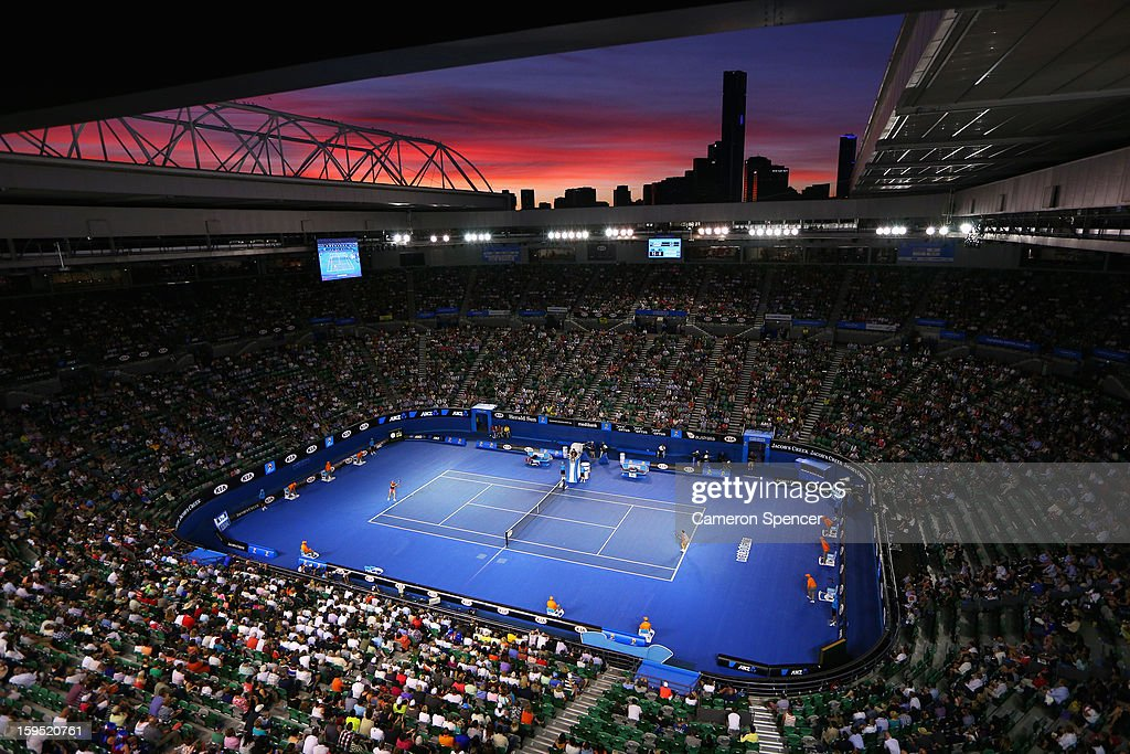 A general view during the women's first round match between Jarmila Gajdosova of Australia and Yanina Wickmayer of Belgium during day two of the 2013 Australian Open at Melbourne Park on January 15, 2013 in Melbourne, Australia.