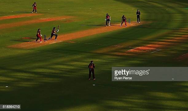 A general view during the Women's ICC World Twenty20 India 2016 Semi Final match between West Indies and New Zealand at Wankhede Stadium on March 31...