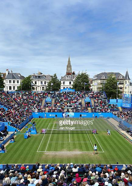 General view during the women's singles final match between Jamie Hampton of the USA and Elena Vesnina of Russia on day eight of the AEGON...